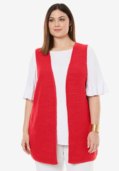 Cardigan Vest, HOT RED