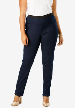 Straight Leg Stretch Denim Jeggings, INDIGO WASH
