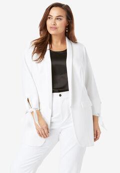 Tie-Sleeve Bi-Stretch Blazer, WHITE