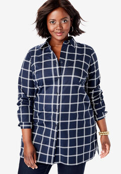 Poplin Tunic, NAVY WINDOW PANE