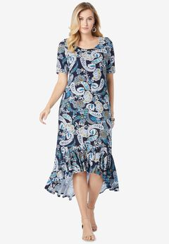 Everyday Knit Flounce Hem Maxi Dress, NAVY LAYERED PAISLEY
