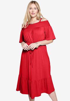 Off the Shoulder Dress, HOT RED
