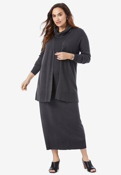 Two-Piece Sweater Dress, HEATHER CHARCOAL GREY