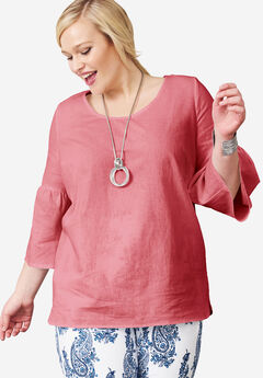 Bell Sleeve Linen Blouse, CORAL ROSE
