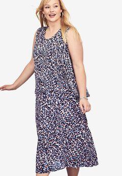 Pure Ease Crinkle Overlay Midi Dress,