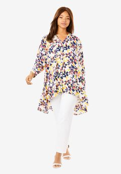 Hi-Low Georgette Tunic, WHITE PACKED HIBISCUS