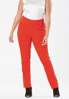 Comfort Waistband Jeans, FLAME RED