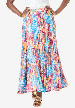 Pleated Maxi Skirt, MULTI IKAT TAPESTRY