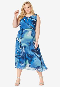 Belted Georgette Dress, OCEAN WAVE ABSTRACT
