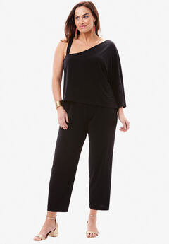 One Shoulder Jumpsuit, BLACK