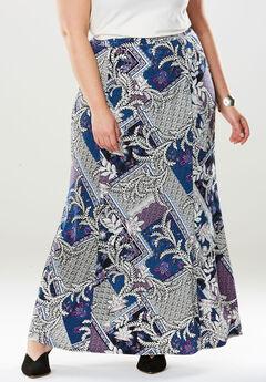 Travel Knit Maxi Skirt, MULTI SCARF