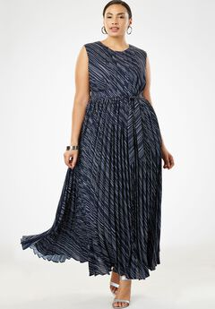 Pleated Maxi Dress, NAVY BIAS STRIPE
