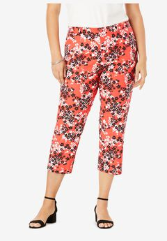 Stretch Poplin Straight-Leg Crop Pant, GERANIUM FLOWER PATCH