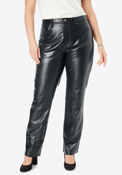 Straight Leg Leather Pants, BLACK