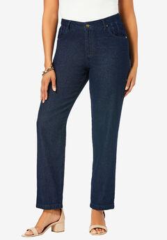 Classic Cotton Denim Straight Jeans, INDIGO