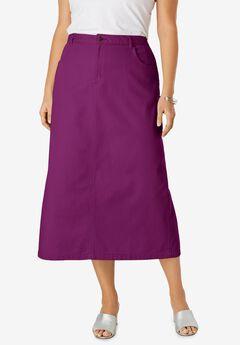 Classic Cotton Denim Long Skirt, PURPLE TULIP