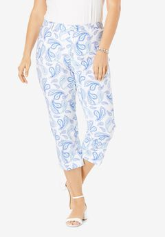 Stretch Poplin Crop Pant, BLUE SKETCH PAISLEY