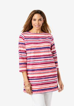 Boatneck Tunic, PINK WATERCOLOR STRIPE