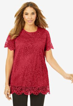 Lace Tunic, CLASSIC RED