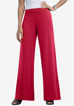 Travel Knit Wide Leg Pants, CLASSIC RED