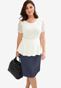 Peplum Lace Top, IVORY