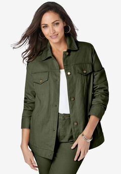 Classic Cotton Denim Jacket, DARK OLIVE GREEN