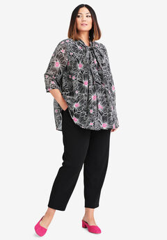 Scarf Pleat Blouse, BLACK OPTICAL FLORAL
