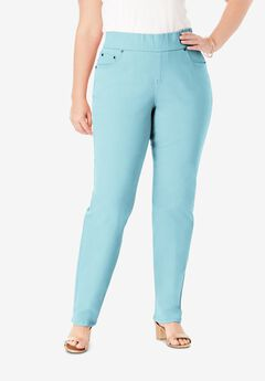 Comfort Waistband Jeans, LIGHT AQUA