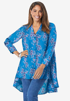 Hi-Low Georgette Tunic, BRILLIANT BLUE PRIMROSE