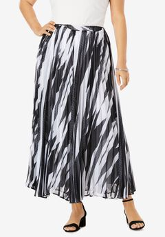 Pleated Maxi Skirt, GRAPHIC GEO