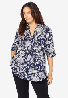 A-Line Poplin Shirt with Elbow Length Sleeves,