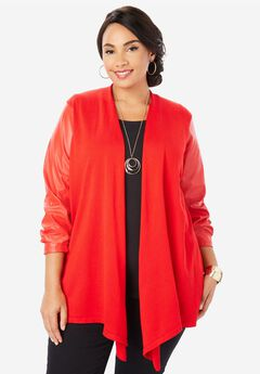 Faux Leather Sleeve Cardigan Sweater,