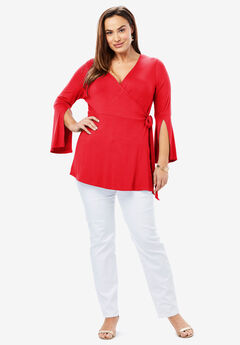 Faux Wrap Tunic, HOT RED