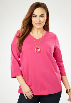 V-Neck Tee, BERRY