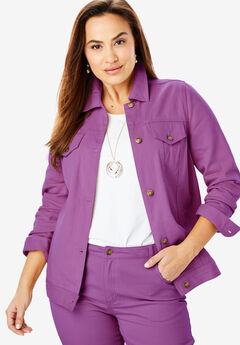 Classic Cotton Denim Jacket, PLUM PURPLE