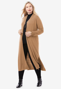 Cotton Cashmere Duster Sweater, BROWN MAPLE
