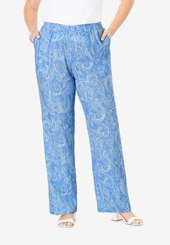 Lightweight Linen-Blend Wide-Leg Pants, BLUE DOTTED PAISLEY