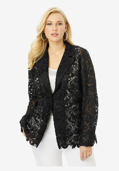 Lace Blazer, BLACK