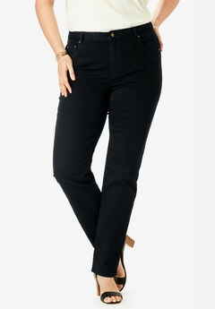 True Fit Straight Leg Jeans, BLACK