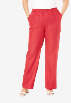 Lightweight Linen-Blend Wide-Leg Pants, SOFT GERANIUM