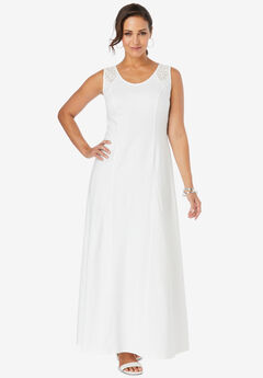 Crochet-Detailed Dress, WHITE
