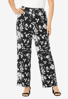 Everyday Stretch Knit Palazzo Pant, BLACK ILLUSION FLORAL