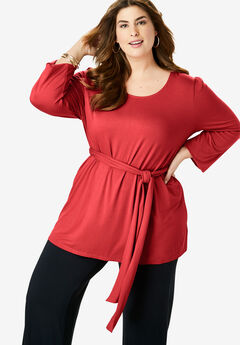 Belted Knit Tunic, PEPPER RED