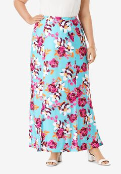 Travel Knit Maxi Skirt, AQUA FLORAL GARDEN