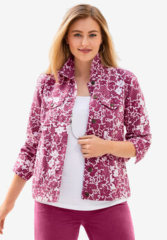 Classic Cotton Denim Jacket, BERRY TWIST MINI FLOWER DOT