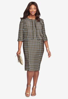 Printed Jacket Dress, GRAPHIC HOUNDSTOOTH
