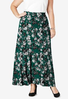 Everyday Knit Maxi Skirt, DARK EMERALD BOUQUET