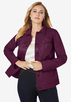 Denim Style Leather Jacket, DARK BERRY