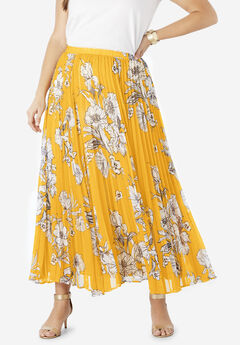 Pleated Maxi Skirt, YELLOW SKETCH FLORAL