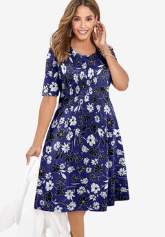 Ponte Flare Dress, NAVY SIMPLE FLORAL
